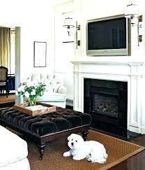corner fireplace tv design ideas above flat screen over niche gas mantel flanked