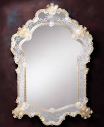 venetian glass mirror framed in hand etched glass with gold highlights genuine venetian glass mirrors