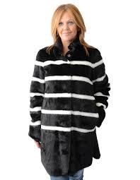 weave armani jeans striped faux fur coat blk crm w37r8981