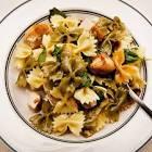 bow tie pasta with watercress and avocado cream sauce