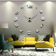 modern diy large 3d mirror effect wall clock