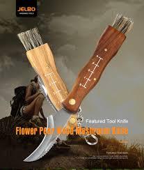 <b>JelBo</b> Mini <b>Pocket Mushroom Knife</b> Wood Handle Camping Hike ...