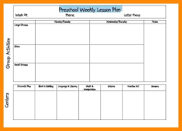 Weekly Lesson Plan Templates Editable Lesson Plan Template Word Weekly For Preschool Business