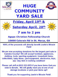 Yard Sale Flyer 2013 Miracle League Of Camden County