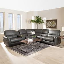 baxton studio amaris 5 piece grey leather reclining sectional