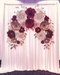 Paper Flower Decor Elegant Engagement Paper Flower Backdrop Burgundy Gold And Cream