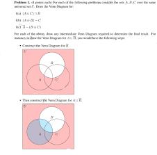 Venn Diagram Aub Solved Problem 1 4 Points Each For Each Of The Followi