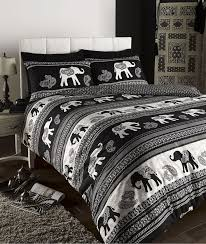 empire indian elephant animal print king bed duvet quilt cover bedding set black in home