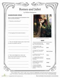 romeo and juliet highschool worksheet romeo juliet worksheet literary analysis