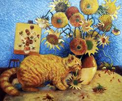 famous artists painting van goghs bad cat by eve riser roberts