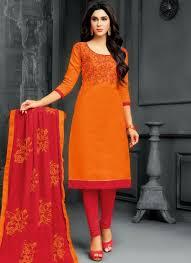 Cotton Churidar Dress Design Patterns Amazing Orange Embroidered Work Cotton Churidar Suit
