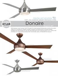 donaire outdoor ceiling fan with light brushed bronze for wet locations