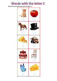 Children can trace each letter of the alphabet, identify beginning sounds by matching pictures with the letters they start with, complete a simple cut and paste phonics activity, and separate similar letters by matching the uppercase and lowercase form of each letter. Words With The Letter C Worksheet