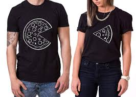 Whykiki Pizza King Queen T Shirt Partnerlook Coppia Imposta Dolce