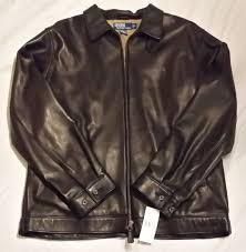 new polo ralph lauren dark brown leather jacket coat men s large classics 3 595