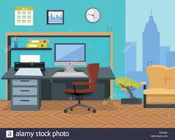 modern office interior design. Interior Office Room. Illustration For Design. Modern Designer Desktop In Flat Design