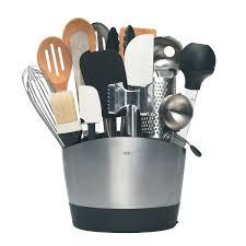 modern kitchen utensils. Oxo Good Grip Utensil Holder With Wooden Kitchen Cabinet And Recessed Lighting Also Wood Flooring For Modern Utensils