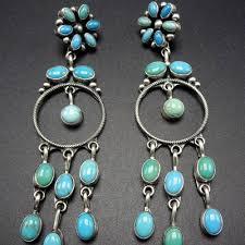 long signed navajo sterling silver turquoise cer dangle chandelier earrings