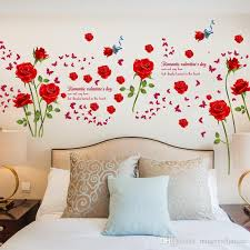 fashion romantic rose flower wall sticker flower vines butterfly lettering art sticker wall decor nursery decal for livingroom removable stickers for walls  on flower wall art for nursery with fashion romantic rose flower wall sticker flower vines butterfly