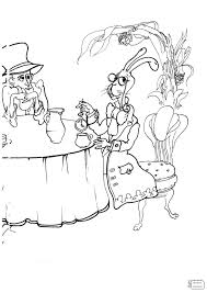 Alice In Wonderland Tea Party Coloring Pages Printable Free