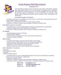 Camp Counselor Resume March, 12 2017