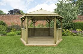 garden gazebo with timber roof