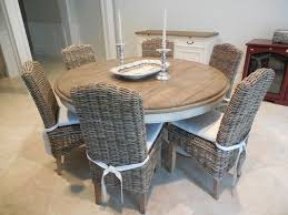 60 dining table with grey wicker chairs beach style dining room