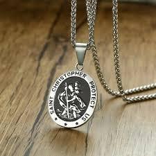 St Christopher Saint Protect Us Medal <b>Pendant Necklace 316L</b> ...