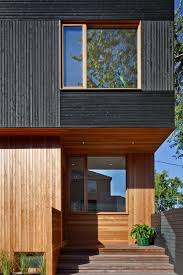 Modern Wood House Black Siding With Natural Wood Accents For This Toronto Home