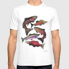 Society6 T Shirt Size Chart Salmon Fish Chart T Shirt By Mandybeckers