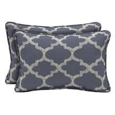 hampton bay cushionguard midnight trellis lumbar outdoor throw pillow 2 pack