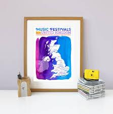 uk music festival map wall art print on map wall art uk with uk music festival map wall print by katy clemmans