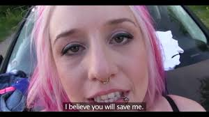Emo babe gets hotly fucked for money outdoors by stranger dude.