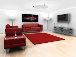 simple red rugs for living room with red color sofa and big lcd tv also contemporary