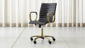 leather office. Ripple Black Leather Office Chair With Brass Frame In Chairs + Reviews | Crate And Barrel