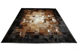 square tiles brown beige and black leather area rug
