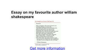 essay on my favourite author william shakespeare google docs