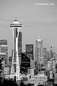 Seattle Cityscape Seattle Space Needle Cityscape Black And White Vertical Limited Edition Of 100