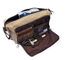 dopp kit mens toiletry travel bag ykk zipper canvas leather medium khaki 3