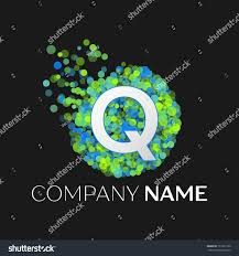 Realistic Letter Q logo with blue, purple, pink particles and bubble dots  in circle