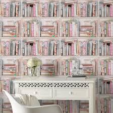 fresco collage bookcase wallpaper