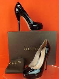 nib gucci black patent leather lisbeth p toe platform pumps 40 10 309984 730