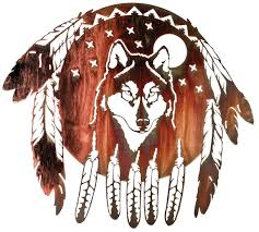 wolf shield native american indian wall decor metal wall art hanging 21 1 4 h x 24 w in honey pinion only
