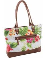 Floral - White - Travel Bags & Luggage | ShapeShop & Parinda Allie White Floral Quilted Fabric with Croco Faux Leather Travel  Tote Bag (Allie White Adamdwight.com