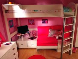 photo 3 of 9 bunk beds with desk and sofa bed pink loft couch underneath