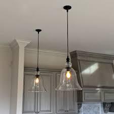 clear glass kitchen light fixturesabove kitchen counter large glass bell hanging pendant lights
