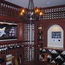 chandeliers add a vintage look to your wine cellar