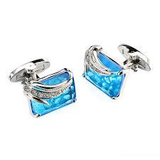 2019 Luxury Blue Glass Cufflinks For Mens <b>Lepton</b> High Quality ...