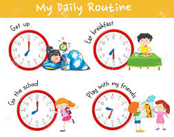 Kids Daily Routine Chart Activity Chart Showing Different Daily Routine Of Kids Illustration