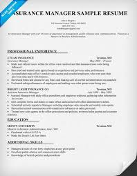 Insurance Manager Resume Sample Resumecompanion Com This That